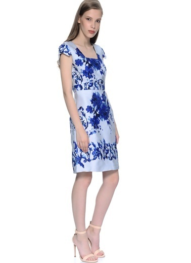 Darling Kare Yaka Desenli Kısa Elbise Mavi